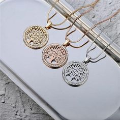 Hot Tree of Life Crystal Round Small Pendant Necklace Gold Silver Colors Bijoux Collier Elegant Women Jewelry Gifts Dropshipping · favorite things Family Tree Necklace, Tree Of Life Necklace, Gold Pendant Necklace, Crystal Necklace, Silver Earrings, Pendant Jewelry, Silver Bracelets, Round Pendant, Crystal Pendant