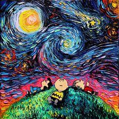 Aja Kusick paints pop culture Starry Night scenes in her 'Van Gogh Never' series. Each cartoon Van Gogh painting puts an artistic spin on pop culture. Peanuts Cartoon, Peanuts Snoopy, Art Pop, Snoopy Et Woodstock, Arte Van Gogh, Brown Art, Charlie Brown And Snoopy, Cultura Pop, Vincent Van Gogh