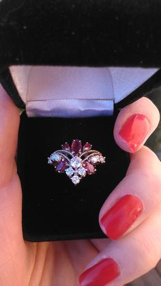 This needs to be my wedding ring!!! Gorgeous 14k Gold Diamond Ruby Ring by MADAMECKERSON on Etsy, $899.00