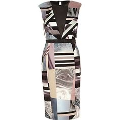 Beige graphic print deep plunge V-neck dress $40.00