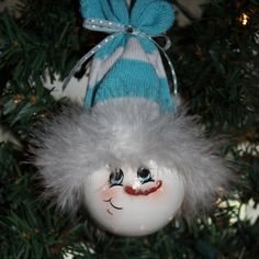 "OOAK, Hand Painted ""Baby Blue"" Snowman Light Bulb Ornament"