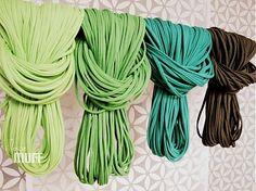 spaghetti scarf shades of green