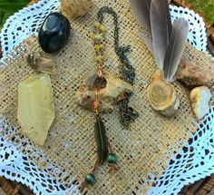 Natural Hagstone Necklace with Feather Charm Accent and Partial Rosary Style Chain with Citrine, Handmade, OOAK by SaracenProvisions on Etsy
