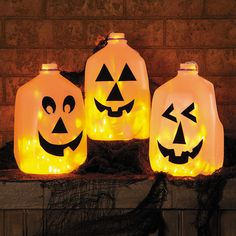 DIY Halloween Milk Jug Jack-O-Lantern - OrientalTrading.com  A fun and easy craft, these jugs are a great addition to your Halloween décor! Line your porch and windows for the trick-or-treaters, or use as party decorations at your next fall event! And with our orange lights or glow sticks inside, you'll be at ease knowing they're fire-free!