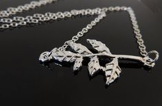 Silver Leaf Necklace. Branch Neckalace. A by SimpleElegantJewelry, $13.00