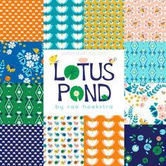SALE Lotus Pond Organic Half Yard Bundle designed by PatternCrush Lotus Pond, Cloud 9, Suzy, Fabric Patterns, Organic Cotton, Fat, Crafty, Prints, Design