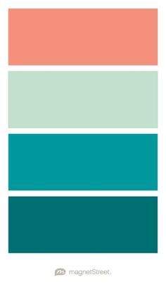 Coral, Celadon, Teal, and Custom Teal Wedding Color Palette - custom color palette created at MagnetStreet.com
