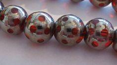 10mm RUBY Polka Dot Glass Beads 10 by GlassBeadLover on Etsy, $4.75