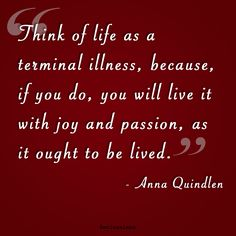 """Think of life as a terminal illness, because, if you do, you will live it with joy and passion, as it ought to be lived."" -Anna Quindlen"
