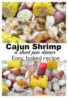 Cajun Shrimp, easy baked shrimp made on a sheet pan.