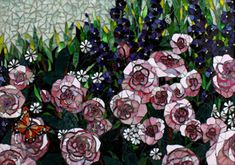 Floral Mosaics ...Rose Garden mosaic- Pink roses, Blue Delphinums, and a Monarch Butterfly.