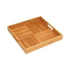 Serving Platters/ Bowls/Trays: Bamboo Square Serving Tray with Criss Cross Bottom - NEW ITEM - avail 4/15/14