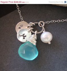 ON SALE Personalized Necklace  Chalcedony Briolette by lizix26, $34.20