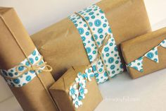 Brown paper wrapping ideas...and free download for the cute button paper