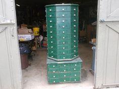 "c1900 BOLT & SCREW ANTIQUE octagon hardware store cabinet 104 drawer 65"" tall #CountryHardwarestorefixture #AMERICAN"