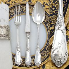 """Antique French Sterling Silver 3pc Flatware Set, in Box: """"Helene"""" from ..."""
