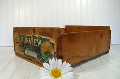 Vintage Fruit Gathering & Harvesting Crate  Wooden by DivineOrders, $27.00