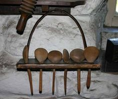 Early Welsh spoon rack with cawl spoons. {Cawl is Welsh for soup}