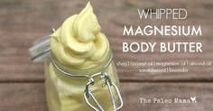 This whipped magnesium body butter uses magnesium oil which is so beneficial for promoting a restful sleep, relieving aches and pains, and improving mood! https://thepaleomama.com/2015/01/whipped-magnesium-body-butter/