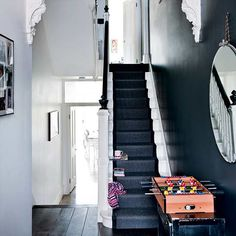 The Best Paint Colors: 10 Farrow & Ball Not-Boring Neutrals - stairs Black And White Hallway, Dark Hallway, White Stairs, Modern Hallway, Hallway Paint, Black White, Black Painted Stairs, Hallway Mirror, Farrow Ball