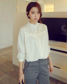 韓国ファッション通販,WITHIPUN(ウィズイップン) ロマンチックシンプルブラウス