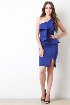 One Shoulder Asymmetrical Peplum Ruffle Bodycon Dress