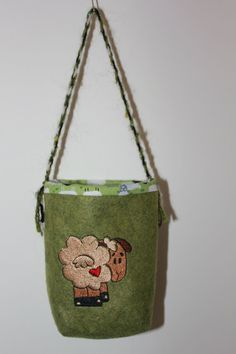 SPINNING BAG with sheep to hang on your wheel. by Bags4Ewe on Etsy