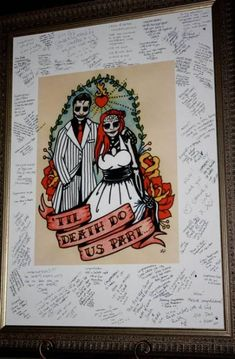 Leah & Peter's Red + Black Rockabilly Wedding. I like the idea of signing a poster like this from the wedding party and family and friends. then its on display on ur wall! Wedding Gifts For Friends, Wedding Wishes, Pinup, Sugar Skull Wedding, Zombie Wedding, Rockabilly Wedding, Rockabilly Ideas, Rockabilly Style, Wedding Guest Book Alternatives