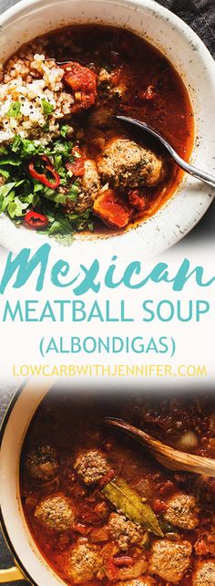 Albondigas Soup (Mexican meatball soup) with a simple base of diced tomatoes, chipotle salsa, and beef broth. Serve with cauliflower rice. From jenniferbanz.com #Paleorecipes #lowcarbrecipes #ketorecipes
