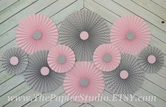 Pink Grey and Polka Dot Set of 10 Ten paper fans/rosettes