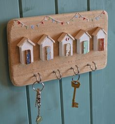 Handmade Driftwood Beach Hut Key Hooks, By Hello Sunshine Designs Cornwall.  £28.00