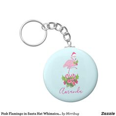 Pink Flamingo in Santa Hat Whimsical Christmas Keychain Whimsical Christmas, Pink Flamingos, Santa Hat, Keep It Cleaner, Holiday Cards, Personalized Items, Christian Christmas Cards