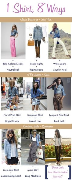 chambray shirt 8 ways/great for Paris! And, you can wash and hang to dry easily!!!!