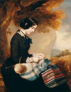Maria Isabella Grant, breien van een sjaal door Francis Grant 1850-1855.