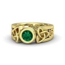 Round Emerald 14K Yellow Gold Ring