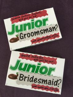 How we asked our Junior Groomsman and Junior Bridesmaid ... I should have added a sticker or something to cover the brown junior mint on the side of the box to make it 'cuter'. oops!