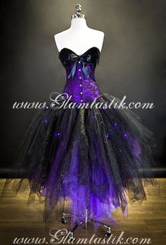Custom Size Light up Purple and Black lace feather sparkle Burlesque Corset prom dress by Glamtastik on Etsy https://www.etsy.com/ca/listing/170990517/custom-size-light-up-purple-and-black