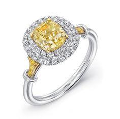 Uneek Natureal Fancy Yellow Oval Diamond Engagement Ring LVS813