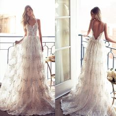 Most Popular A-line Long Spaghetti Open Back Sexy Lace Bridal Gown, We – NewestDress