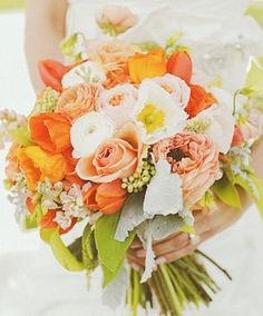 LOVE THIS!!!  Looks so fresh and simple with just the orange and white and green. orange wedding flowers