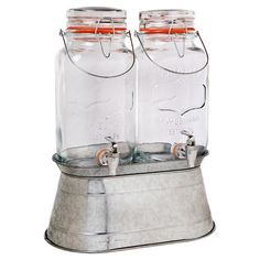 Serve fruity sangria and frosty champagne punch at your next dinner soiree with this classic double beverage dispenser, featuring a galvanized metal base and...