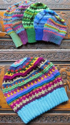 Knitting Pattern for Stashbuster Slouch - Textured loose-fitting slouch hat or beanie using scraps of different colored worsted yarn. Sizes toddler to adult. Designed by Rian Anderson #knittingprojects