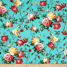 "Verna Mosquera Fruta y Flor Cottage Rose Aqua from @fabricdotcom  Designed by Verna Mosquera for Free Spirit, this ""Fruta y Flor"" cotton print is perfect for quilting, apparel and home decor accents. This collection is inspired by vintage botanical fruit prints and retro vibes. Colors include aqua blue, green, yellow, rose pink, red and white."