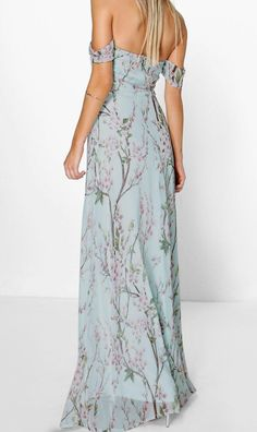 Floral Off The Shoulder Maxi Dress | Boohoo