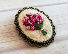 Embroidered flower bouquet in