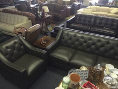 "Great set of furniture for the living room or the family room.  High quality Italian leather.  This furniture is all high quality, top grain all leather.  NOT A BLEND or leatherette like you'd find at the cheap discount stores.  These pieces have leather on the sides and backs too, not just the seating surface.  <br>  <br>THIS STUFF IS THE REAL DEAL & IT""S BRAND SPANKIN NEW TOO. <br>  <br>Now you can go to big box stores and buy this same leather living room furniture for twice the price…"