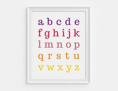 Educational abc chart  printable alphabet by HelloOliveDesigns