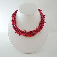 Bright Red Long Coral Necklace by BlueIrisJewelry