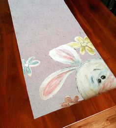 Table Runner, Table Decorations, Holiday Decorations, Easter, Easter Bunny, Bunny Rabbit, Hand-painted