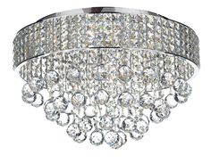 MAT5450 Matrix 5 Light Flush Fitting Crystal glass decoration Block Crystal Frame with suspended crystal ball droppers Height adjustable at point of instalation Earthed 5 x 25w G9 Lamps included Height 33cm Diameter 50cm